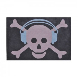 Dywan Wool Big Skull Headphones Azul/Blue 200x140 cm, LORENA CANALS