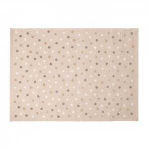 Dywan Dots Pink-Grey Linen White 200x140 cm, LORENA CANALS