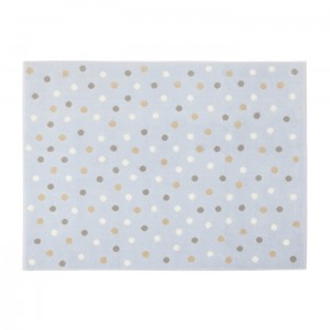 Dywan Dots Blue-Grey Linen White 160x120 cm, LORENA CANALS