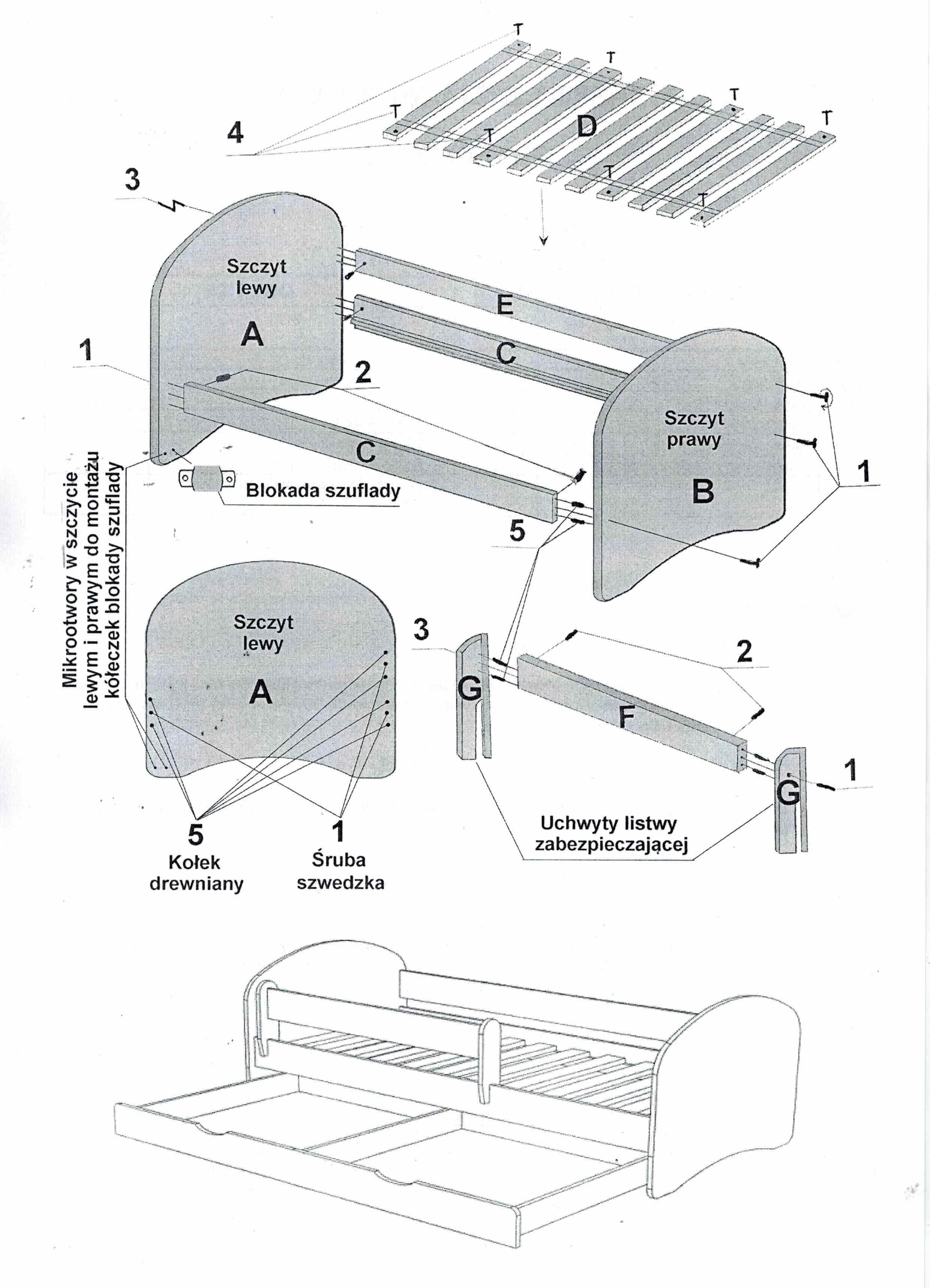 Białe łóżko 160x80 Classic 1